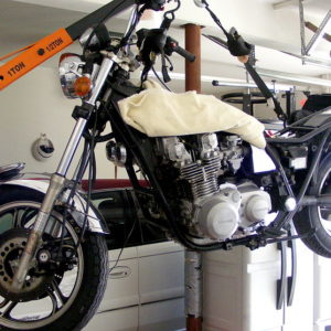 Project bike on crane = a real back saver!