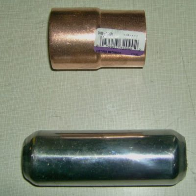 """4"""" Mini Muscle Baffle (bottom) and copper fitting"""