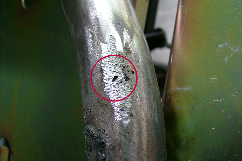 Small hole repaired on tail pipe