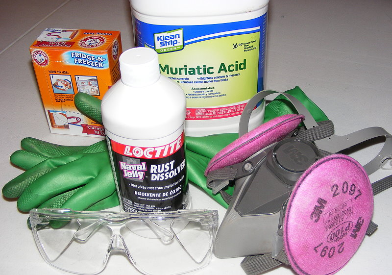 Supplies for cleaning out a rusty fuel tank